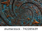 bronze ancient antique... | Shutterstock . vector #742285639