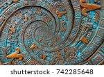 bronze ancient antique... | Shutterstock . vector #742285648