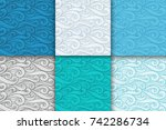 abstract colorful curly lines... | Shutterstock .eps vector #742286734