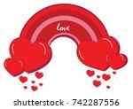 red heart rainbow. valentine's...   Shutterstock .eps vector #742287556