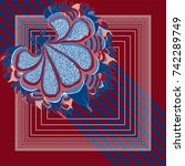 spring retro floral print. silk ... | Shutterstock .eps vector #742289749