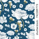 seamless floral pattern in... | Shutterstock .eps vector #742289773