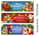 merry christmas banners design... | Shutterstock .eps vector #742291660