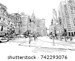 philadelphia. pennsylvania. usa.... | Shutterstock .eps vector #742293076