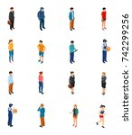 cool isometric people of... | Shutterstock . vector #742299256