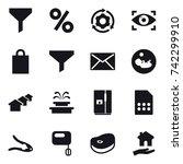 16 vector icon set   funnel ...   Shutterstock .eps vector #742299910