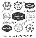 vector set of hand drawn doodle ... | Shutterstock .eps vector #742300150
