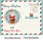 holiday postcard with santa... | Shutterstock .eps vector #742302850