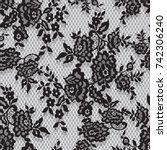 seamless vector black lace... | Shutterstock .eps vector #742306240