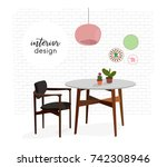 vector interior design... | Shutterstock .eps vector #742308946