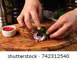 chef in hotel or restaurant... | Shutterstock . vector #742312540