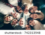 group of people in circle .... | Shutterstock . vector #742313548