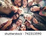 group of people in circle .... | Shutterstock . vector #742313590