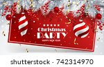 christmas card with red balls... | Shutterstock .eps vector #742314970