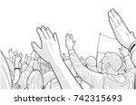illustration of protesting... | Shutterstock .eps vector #742315693