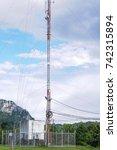 telephone antenna  antenna in... | Shutterstock . vector #742315894