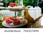 white and pink macaron on... | Shutterstock . vector #742317694