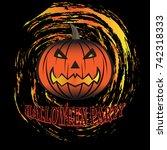 halloween pumpkin icon flat... | Shutterstock .eps vector #742318333