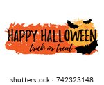 happy halloween greeting card... | Shutterstock . vector #742323148