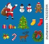 a set of pixel festive elements ... | Shutterstock .eps vector #742323544