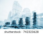 double exposure of city and... | Shutterstock . vector #742323628