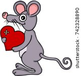 cute mouse holding red heart | Shutterstock .eps vector #742328890