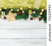 christmas decoration on the... | Shutterstock . vector #742329994