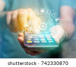 view of a home button of a... | Shutterstock . vector #742330870