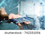 view of a technology network...   Shutterstock . vector #742331056