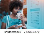 young cute brazilian girl with... | Shutterstock . vector #742333279