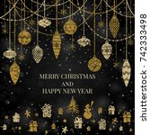 new year and merry christmas... | Shutterstock .eps vector #742333498