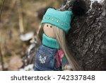 cute tilde doll hand made on a... | Shutterstock . vector #742337848