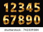 gold numbers set.vector golden... | Shutterstock .eps vector #742339384