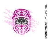helmet motocross  skull...   Shutterstock .eps vector #742341706
