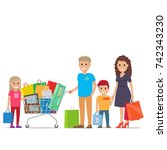 family making holiday purchases.... | Shutterstock . vector #742343230