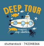 submarine and deep life of kids ... | Shutterstock .eps vector #742348366