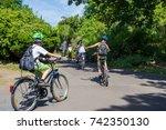children on bike tour or school ... | Shutterstock . vector #742350130