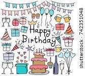 hand drawn doodle vector happy... | Shutterstock .eps vector #742351048