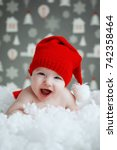 beautiful funny baby in a... | Shutterstock . vector #742358464