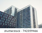 typical berlin skyscrapers in... | Shutterstock . vector #742359466