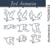 animation the bird is flying.... | Shutterstock .eps vector #742360018