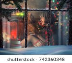 looking through snowy window at ... | Shutterstock . vector #742360348