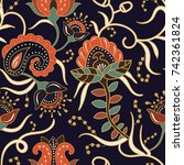 seamless pattern with stylized... | Shutterstock .eps vector #742361824