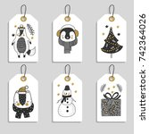 christmas tags with cute... | Shutterstock .eps vector #742364026