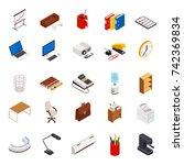 big set of 3d isometric... | Shutterstock . vector #742369834