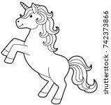Cartoon Unicorn Standing Line...