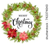 christmas wreath of red... | Shutterstock .eps vector #742374043