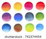 set of different watercolor... | Shutterstock . vector #742374454