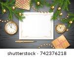 christmas vector top view... | Shutterstock .eps vector #742376218
