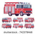 fire engine set. emergency... | Shutterstock .eps vector #742378468